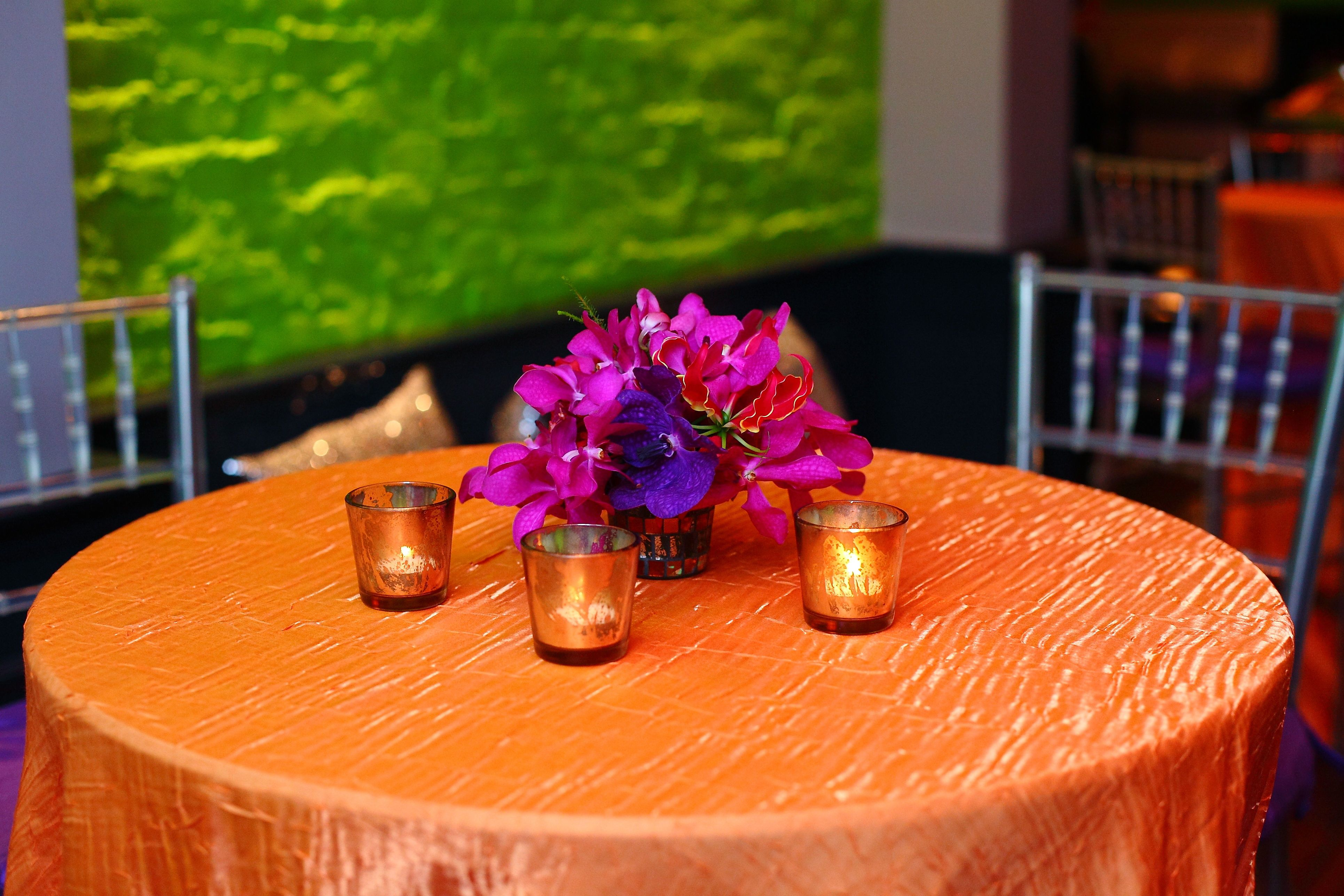 Orange Gold Crushed Shimmer Table Linen Rental Tablecloth