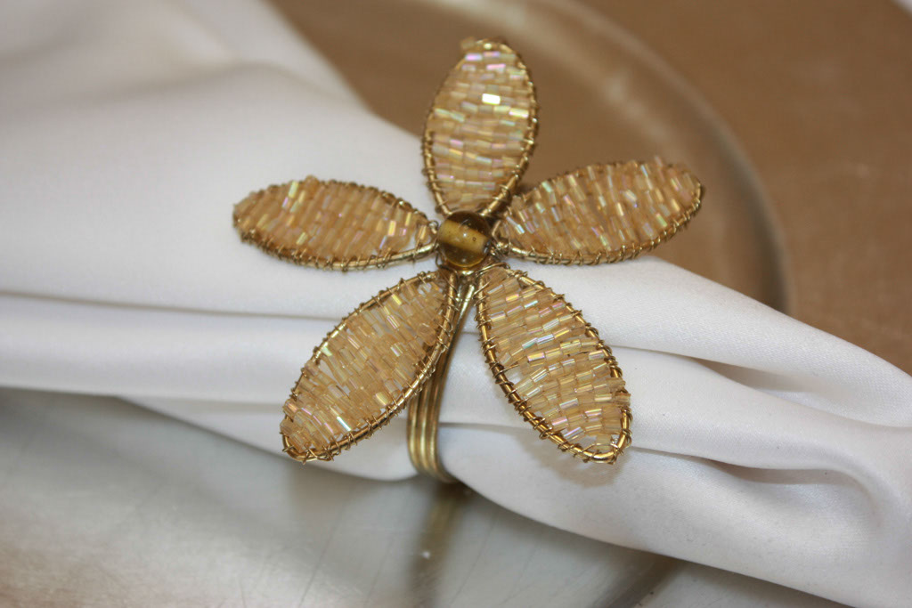Gold Beaded Flower