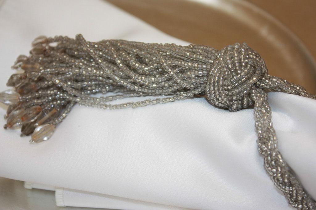 Silver Beaded Tassel