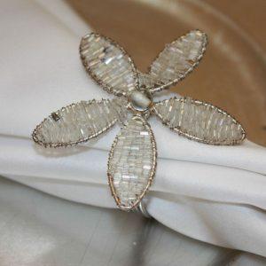 Silver Beaded Flower