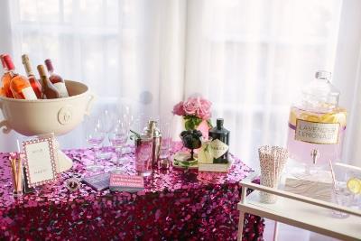 Fuchsia Disco Paylette Table Linen Rental Tablecloth