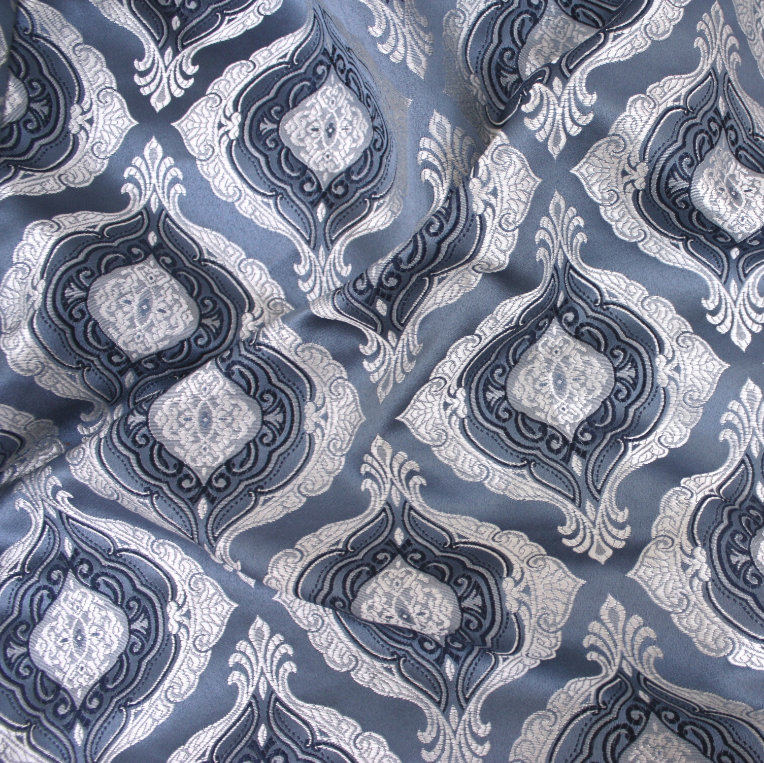 Blue Silver Majestic Damask Table Linen Rental Tablecloth