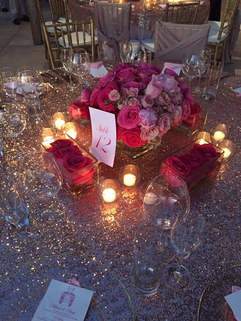 Blush Dazzle Sequin Table Linen Rental Tablecloth