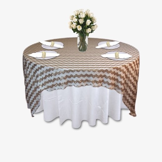 Gold White Chevron Sequin Table Linen Rental Tablecloth