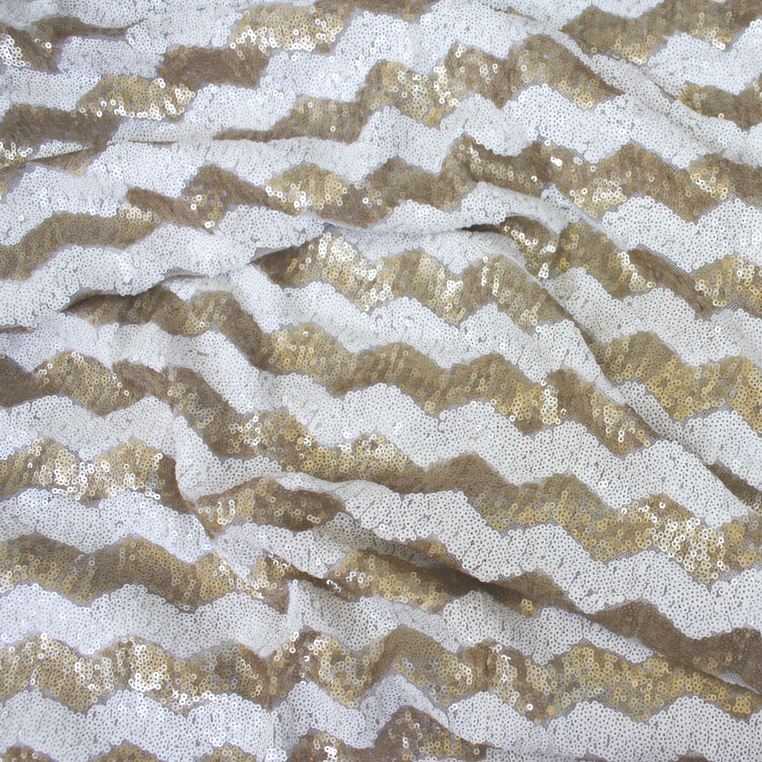 Gold White Chevron Sequin Table Linen Rental Tablecloth