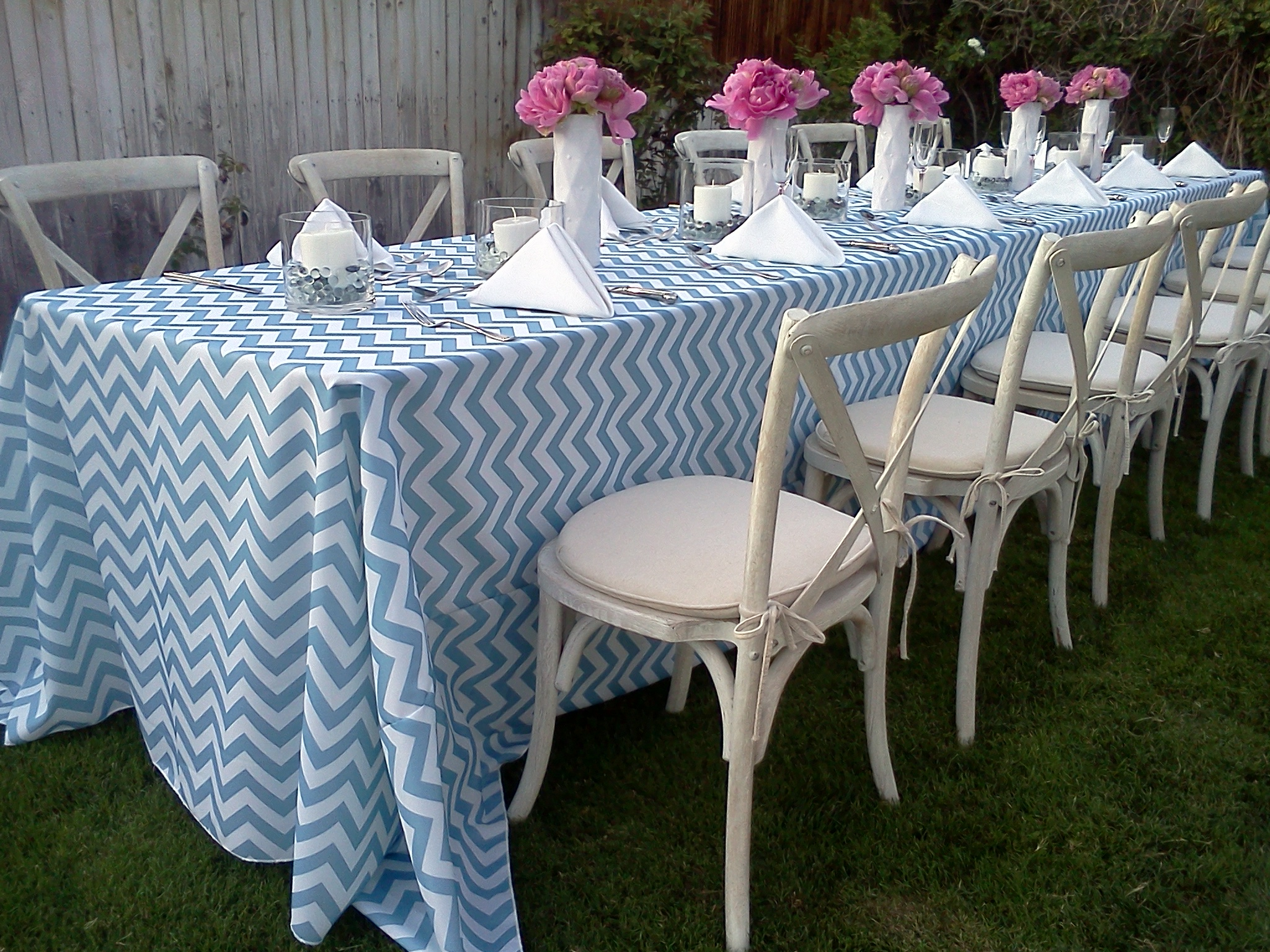 Slate Blue Chevron Table Linen Rental Tablecloth