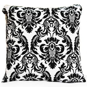 Black White Flock Damask Pillow