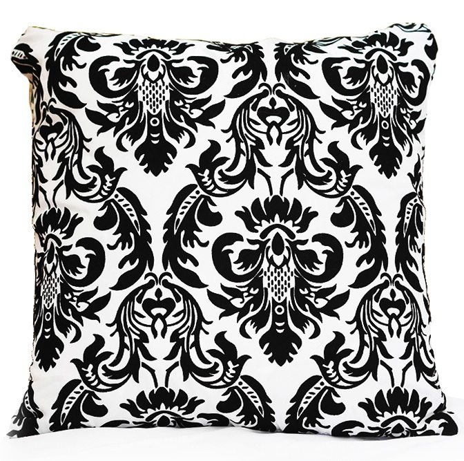 Black White Flock Damask Pillow