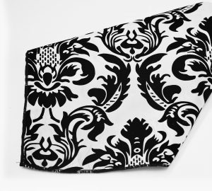 Black and White Flock Damask Napkin