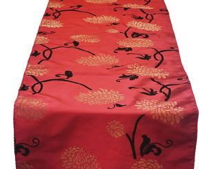 Crimson Garden Flock Table Runner