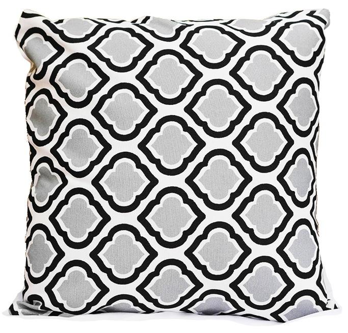 Grey Black Diamonte Pillow
