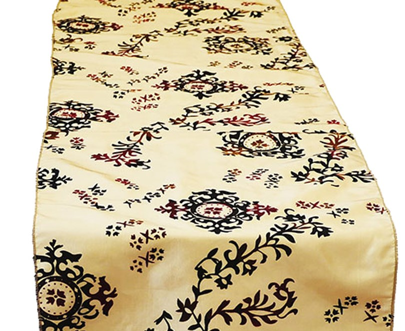 Medallion Flock Damask Table Runner