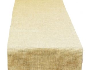 Oatmeal Poly Burlap Table Runner