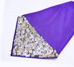 Purple Bengaline Silver Sequin Napkin