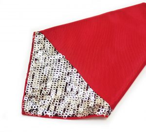Red Bengaline Silver Sequin Napkin