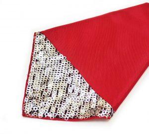 Red Bengaline Silver Sequin Napkin