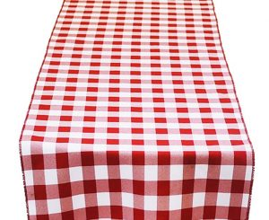 Red White Check Table Runner
