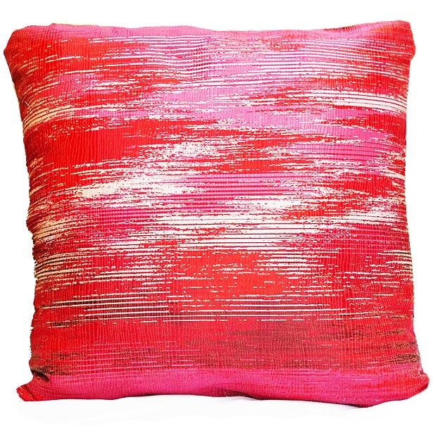 Ruby Silver Metallic Weave Pillow