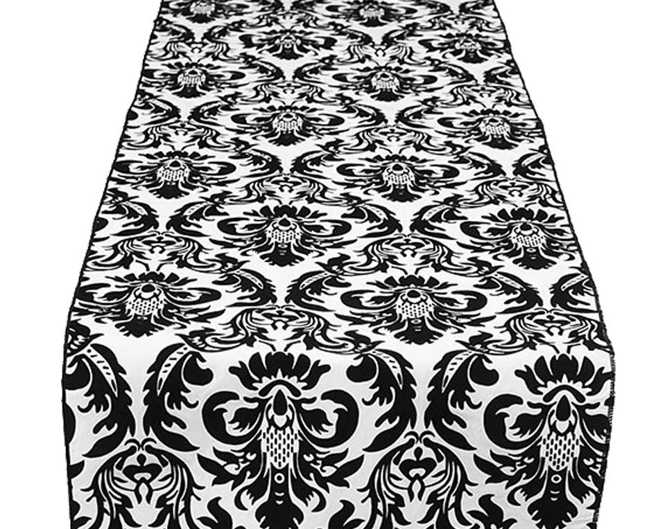 Black White Flock Table Runner