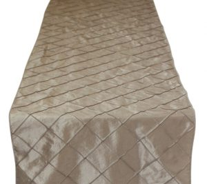 Champagne Pintuck Taffeta Table Runner